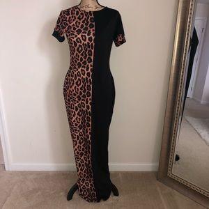Dresses & Skirts - Leopard Print/Black Split Dress